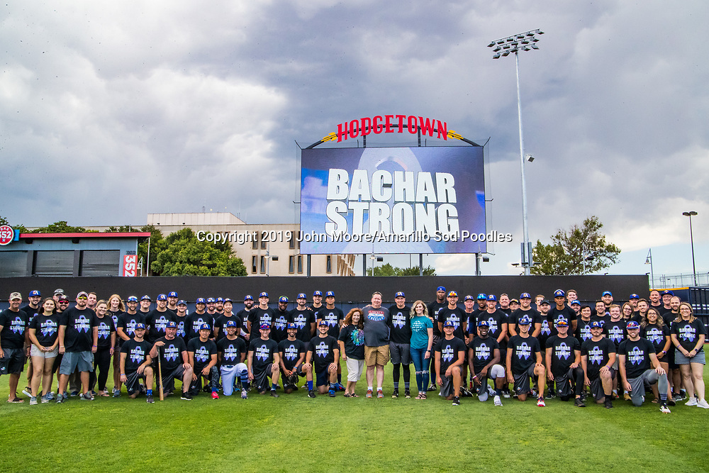 The Amarillo Sod Poodles pose for Bachar Strong Night before the game against the Frisco RoughRiders on Saturday, Aug. 17, 2019, at HODGETOWN in Amarillo, Texas. [Photo by John Moore/Amarillo Sod Poodles]