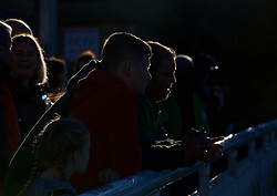 BANGOR, WALES - Saturday, November 17, 2018: Wales supporters look on before the UEFA Under-19 Championship 2019 Qualifying Group 4 match between Sweden and Wales at the Nantporth Stadium. (Pic by Paul Greenwood/Propaganda)