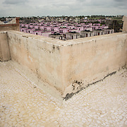 CAPTION: TARU is piloting various cool roof technologies to test the effectiveness of passive ventilation. They have partnered with Indore Development Authority in this. LOCATION: Pink City, Indore, Madhya Pradesh, India. INDIVIDUAL(S) PHOTOGRAPHED: N/A.