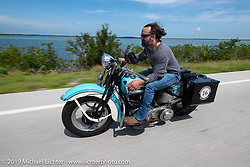 Chris Salisbury with Legends Motorcycle Museum (Springville, UT) riding a 1939 Harley-Davidson Knucklehead across the Florida Keys during the Cross Country Chase motorcycle endurance run from Sault Sainte Marie, MI to Key West, FL. (for vintage bikes from 1930-1948). Stage-10 covered 110 miles from Miami to the finish in Key West, FL USA. Sunday, September 15, 2019. Photography ©2019 Michael Lichter.