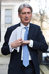 © Licensed to London News Pictures. 10/03/2015. London, UK. Philip Hammond arrives for a cabinet meeting at 10 Downing Street in London on Tuesday 10th March 2015. Photo credit : Vickie Flores/LNP