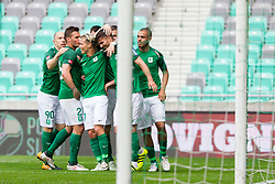 Players of NK Olimpija Ljubljana celebrate gaol of Rok Kronaveter of NK Olimpija Ljubljana during football match between NK Olimpija Ljubljana and NK Krsko in Round #35 of Prva liga Telekom Slovenije 2017/18, on May 23, 2018 in SRC Stozice, Ljubljana, Slovenia. Photo by Urban Urbanc / Sportida