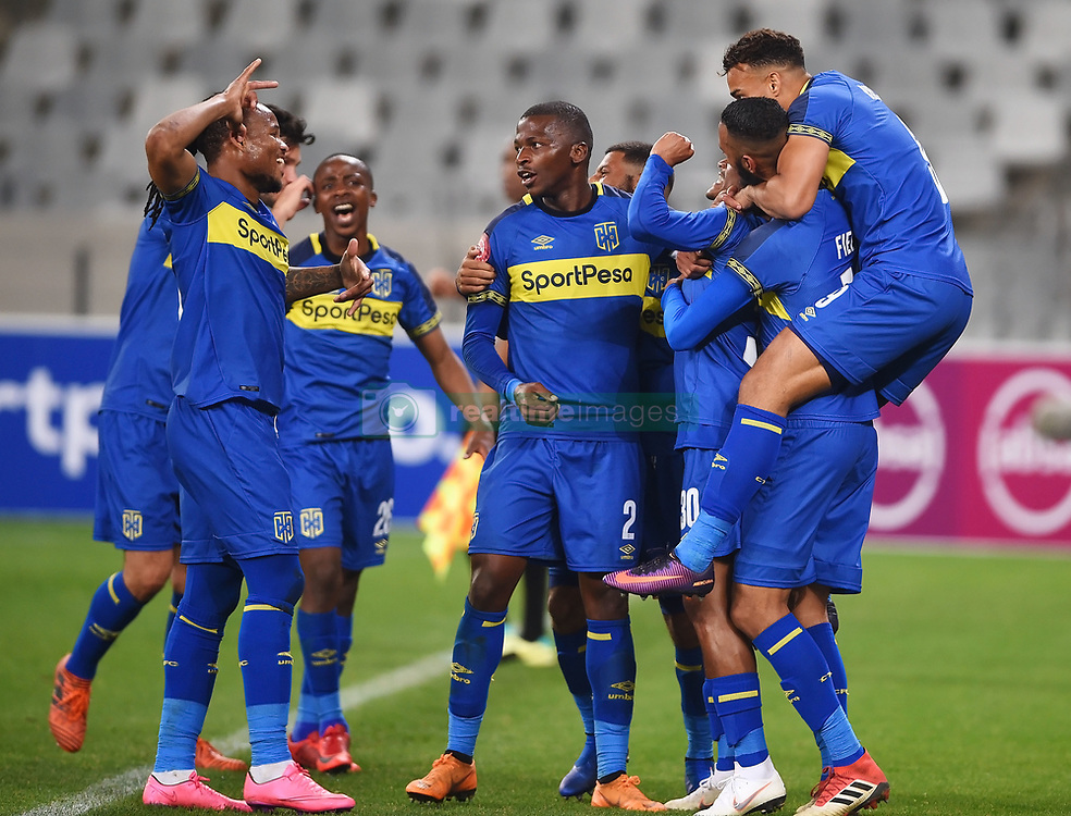 Cape Town-180804 Cape Town city striker siphelele Mthembu challenged by Calyton Daniels of Supersport in the first game of the 2018/2019 season at Cape Town Stadium.photograph:Phando Jikelo/African News Agency/ANAr