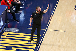 Jan 25, 2021; Morgantown, West Virginia, USA; Texas Tech Red Raiders head coach Chris Beard yells from the sidelines during the first half against the West Virginia Mountaineers at WVU Coliseum. Mandatory Credit: Ben Queen-USA TODAY Sports