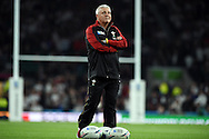 Warren Gatland, the Wales head coach looks on watching his team warm up before k/o. Rugby World Cup 2015 pool A match, England v Wales at Twickenham Stadium in London, England  on Saturday 26th September 2015.<br /> pic by  Andrew Orchard, Andrew Orchard sports photography.