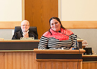 Nicole Center finishes her speech to applause from Judge Carroll and those gathered in Laconia Circuit Court during the Recovery Program graduation ceremony on Tuesday afternoon.  (Karen Bobotas/for the Laconia Daily Sun)