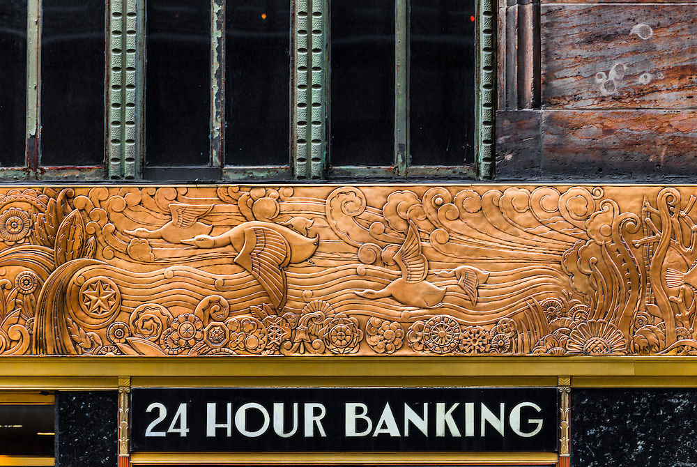 Detail of the Deco frieze decorating the Chanin Building on New York's 42nd Street.<br /> <br /> Encircling the building, the bronze, frieze depicts evolution from one celled organisms to modern birds and fishes.