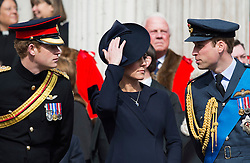 © London News Pictures. 13/03/2015. Prince Harry, Catherine Duchess of Cambridge and Prince William attend a service of commemoration to mark the end of combat operations in Afghanistan, at St Paul's Cathedral in London. Photo credit: Ben Cawthra/LNP