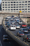traffic jam within the city on the BQE in Brooklyn New York