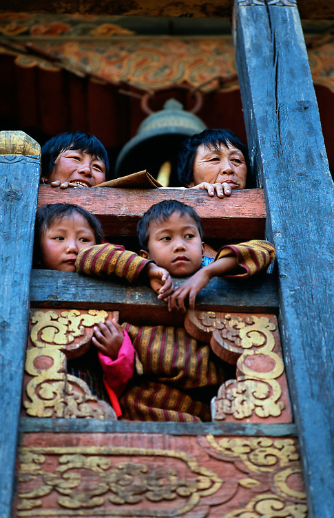The annual Punakha Festival draws hilltribespeople down from the higher valleys to mingle with hundreds of buddhist monks at Punakha Dzong, Punakha, Bhutan