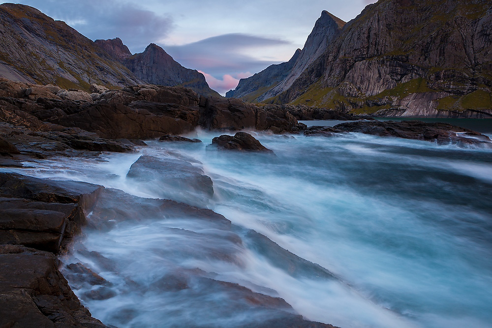 Waves crash onto the rocks at Horseid Beach, Moskenesoya, Lofoten Islands, Norway.