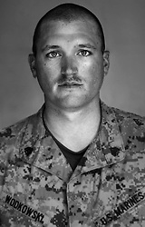 Staff Sgt. John Wodkowski, 27, Rogers City, Michigan, Weapons Platoon Sergeant, Kilo Co., 3rd Battalion 1st Marine Regiment, United States Marine Corps, at the company's firm base in Hit, Iraq on Tuesday Sept. 20, 2005.