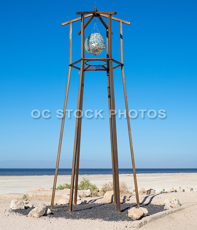 Wood Tower with a Glass Hanging Ball