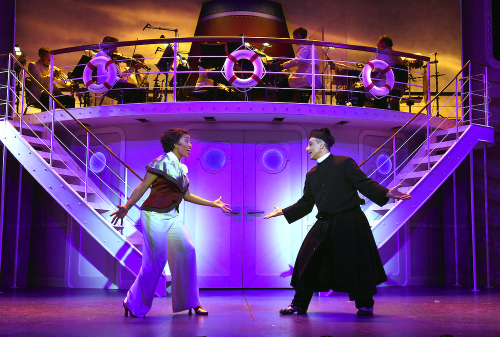 """April 7, 2016, East Haddam, CT<br /> Mara Lavitt -- Special to the Hartford Courant<br /> The run-through of  the classic Cole Porter musical """"Anything Goes"""" being performed at Goodspeed Musicals in East Haddam. Rashidra Scott as Reno Sweeney and Stephen DeRosa as Moonface Martin."""