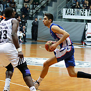 Anadolu Efes's Furkan Korkmaz (R) during their Turkish basketball league match Besiktas integral Forex between Anadolu Efes at BJK Akatlar Arena in Istanbul, Turkey, Monday, January 05, 2015. Photo by TURKPIX