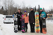 British freestyle snowboarder Rowan Coultas, Katie Ormerod, coach Jack Shackleton and Jamie Nicholls following the FIS Jamboree Slopestyle finals on 12th February 2017 in Stoneham Mountain, Canada. The Canadian Jamboree is part of the ski and snowboard FIS World Cup circuit held in Quebec City and Stoneham Mountain.