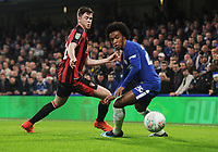Football - 2017 / 2018 Carabao (EFL/League) Cup - Quarter-Final: Chelsea vs. AFC Bournemouth<br /> <br /> Willian of Chelsea and Jack Simpson of Bournemouth, at Stamford Bridge.<br /> <br /> COLORSPORT/ANDREW COWIE