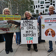 Home Office,  17 October 2021, London, UK. British dog lovers desperately continued to protest the release of the MBR Beagle. The cruel behavior of raising experimental puppies in Kent, England.
