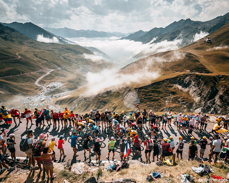 The leaders inside the final two kilometers of the Tourmalet. 2019 Tour de France.