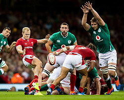 Aled Davies of Wales clears despite the attentions of Iain Henderson of Ireland<br /> <br /> Photographer Simon King/Replay Images<br /> <br /> Friendly - Wales v Ireland - Saturday 31st August 2019 - Principality Stadium - Cardiff<br /> <br /> World Copyright © Replay Images . All rights reserved. info@replayimages.co.uk - http://replayimages.co.uk
