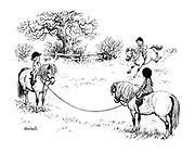 (children riding ponies)