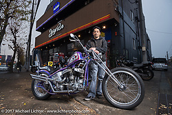 Yutaka Nishida with his Joyride Speed Shop custom Harley-Davidson Flathead in Kodaira City, Tokyo, Japan. Friday December 8, 2017. Photography ©2017 Michael Lichter.