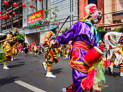 16 FEBRUARY 2018 - BANGKOK, THAILAND: A traditional dance troupe performs on Yaowarat Road during Chinese New Year celebrations in the Chinatown neighborhood of Bangkok. Thailand has a large Chinese community and Lunar New Year is widely celebrated, especially in larger cities. This will be the Year of the Dog.       PHOTO BY JACK KURTZ
