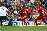 Liverpool's Jordon Ibe © on the ball. pre-season friendly match, Preston North End v Liverpool at Deepdale in Preston, England on Saturday 19th July 2014.<br /> pic by Chris Stading, Andrew Orchard sports photography.