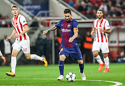ATHENS, Nov. 1, 2017  Lionel Messi (C) of Barcelona competes during the UEFA Champions League group D match between Olympiacos and Barcelona in Athens, Greece, on Oct. 31, 2017. The match ended with a 0-0 tie. (Credit Image: © Lefteris Partsalis/Xinhua via ZUMA Wire)