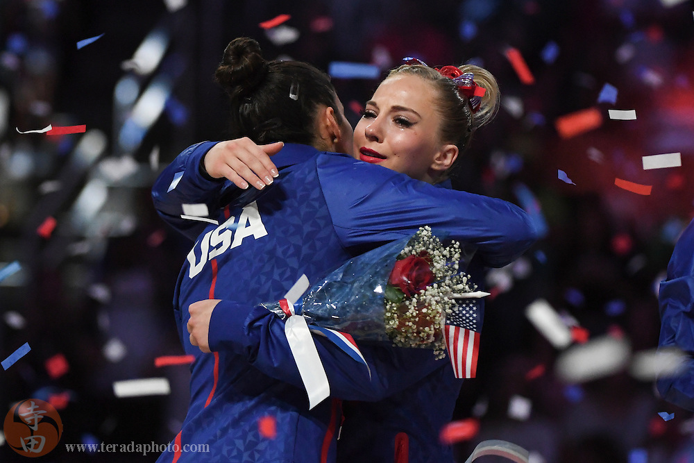 July 10, 2016; San Jose, CA, USA; MyKayla Skinner (right), Gilbert, AZ, hugs Aly Raisman (left), Needham, MA, after being named to the Olympic team during the women's gymnastics U.S. Olympic team trials at SAP Center.