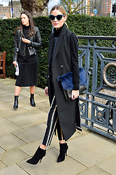 © Licensed to London News Pictures. 21/02/2016. OLIVIA PALMERO arrivals for the Top Shop Unique show at the London Fashion Week Autumn/Winter 2016 show. Models, buyers, celebrities and the stylish descend upon London Fashion Week for the Autumn/Winters 2016 clothes collection shows. London, UK. Photo credit: Ray Tang/LNP