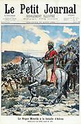 Menelik II (1844-1913) King (Negus) of Ethiopia from 1889. 'Le Petit Journal', Paris, 10 November 1898. Menelik at the Battle of Adowa (Adua) 1 March 1896. Ethiopia defeated Italy. First Italo-Ethiopian War.