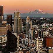 Seattle skyline and Mount Rainier at sunset