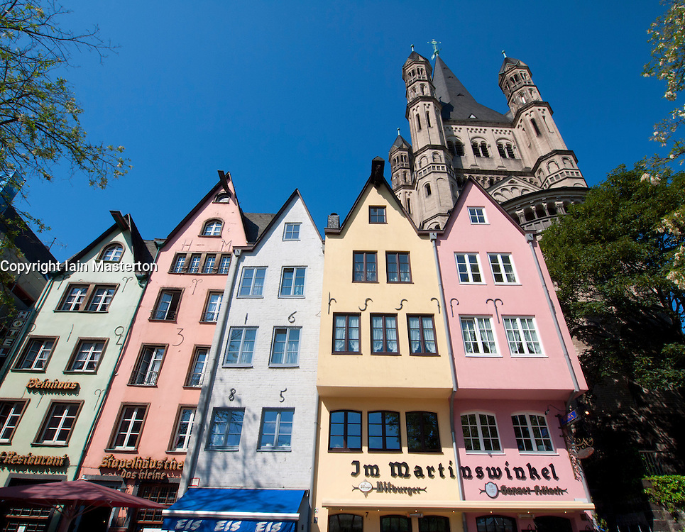 Historic houses and Saint Martins Church in Martinsviertel in Cologne Germany