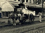 Paris 1955. The Good old days. Ice being delivered in the middle of Paris.<br /> <br /> <br /> Paris 1955. Les bons vieux jours . Livraison de glaces en plein Paris .