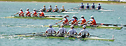 Munich, GERMANY, GBR W4X, Bow Annie VERNON, Debbie FLOOD, Frances HOUGHTON and Katherine GRAINGER,  on their way to winning the Women's Quadruple Scull, at the FISA World Cup Munich, held on the Olympic Rowing Course, 11/05/2008  [Mandatory Credit Peter Spurrier/ Intersport Images] Rowing Course, Olympic Regatta Rowing Course, Munich, GERMANY
