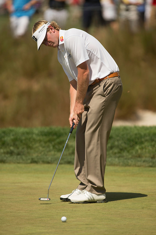 FARMINGDALE, NY - AUGUST 26:  Brandt Snedeker putts during the final round of the 2012 Barclays at the Black Course at Bethpage State Park in Farmingale, New York on August 26, 2012. (Photograph ©2012 Darren Carroll) *** Local Caption *** Brandt Snedeker