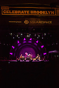 Lucinda Williams and her band on stage at Celebrate Brooklyn in the Prospect Park bandshell.