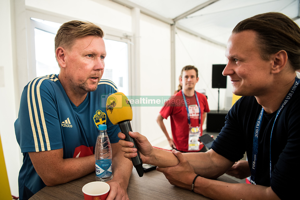 July 4, 2018 - Gelendzhik, Russia - 180704 Assistant coach Peter Wettergren of the Swedish national football team in the mixed zone during the FIFA World Cup on July 4, 2018 in Gelendzhik..Photo: Petter Arvidson / BILDBYRÃ…N / kod PA / 92081 (Credit Image: © Petter Arvidson/Bildbyran via ZUMA Press)