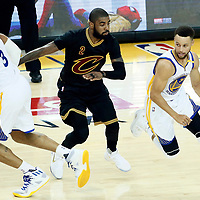 04 June 2017: Golden State Warriors guard Stephen Curry (30) drives past Cleveland Cavaliers guard Kyrie Irving (2) on a screen set by Golden State Warriors forward David West (3) during the Golden State Warriors 132-113 victory over the Cleveland Cavaliers, in game 2 of the 2017 NBA Finals, at the Oracle Arena, Oakland, California, USA.