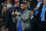 WBC cruiserweight title holder and Everton fan boxer Tony Bellew looks on from the main stand prior to kick off. Premier league match, Everton v West Bromwich Albion at Goodison Park in Liverpool, Merseyside on Saturday 11th March 2017.<br /> pic by Chris Stading, Andrew Orchard sports photography.