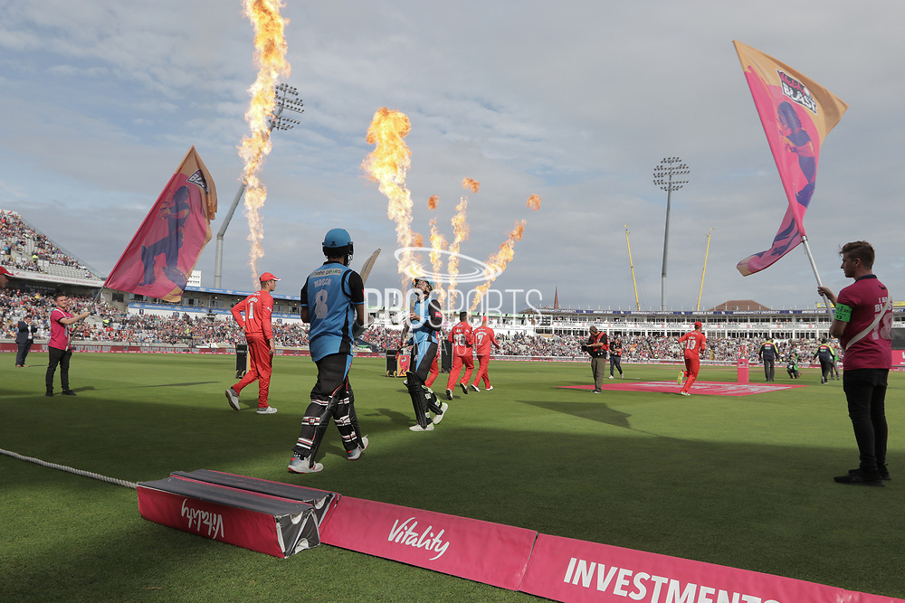 The teams take to the field during the Vitality T20 Finals Day semi final 2018 match between Worcestershire Rapids and Lancashire Lightning at Edgbaston, Birmingham, United Kingdom on 15 September 2018.