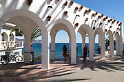 Balcon de Europa terrace in the centre of the popular holiday resort town of Nerja, Malaga province, Spain