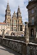View from Praza da Obradoiro Baroque style cathedral, Catedral de Santiago de Compostela, Galicia, Spain