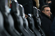 Carlos Carvalhal , the Swansea city manager sits in his seat in the dugout. Premier league match, Swansea city v Liverpool at the Liberty Stadium in Swansea, South Wales on Monday 22nd January 2018. <br /> pic by  Andrew Orchard, Andrew Orchard sports photography.