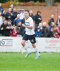 Raith Rovers Ryan Conroy celebrates after scoring their first goal.<br /> Linlithgow Rose 0 v 2 Raith Rovers, William Hill Scottish Cup Third Round game player today at Prestonfield.