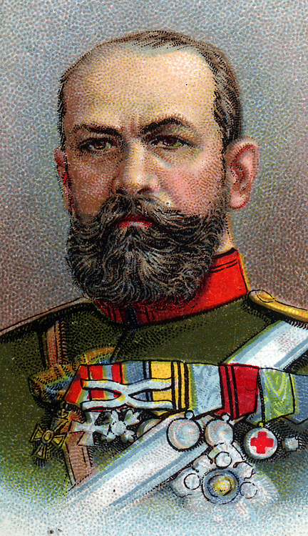'Alexei Evert (1857-1926) Russian General. Chief of Staff, 1st Manchurian Army in Russo-Japanese War 1904-1905. Commander of Russian Western Army Group in Brusilov Offensive in First World War. Chromolithograph.'