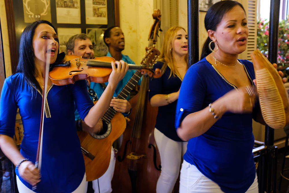HAVANA, CUBA - CIRCA MARCH 2017:  Band playing live music at El Floridita, a landmark and popular tourist attraction in Havana.