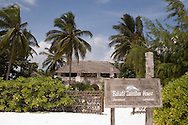 A beach resort hotel built with African style thatched buildings.  Jambiani, Zanzibar,<br /> Tanzania