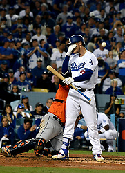 November 1, 2017 - Los Angeles, California, U.S. - Los Angeles Dodgers' Cody Bellinger (35) wipes his face after taking a bad swing in the 3rd inning of game seven of a World Series baseball game at Dodger Stadium on Wednesday Nov. 1, 2017 in Los Angeles. (Photo by Keith Birmingham, Pasadena Star-News/SCNG) (Credit Image: © San Gabriel Valley Tribune via ZUMA Wire)